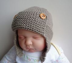 This is an instant download PDF knitting pattern  It is a simple pattern for an aviator hat with 6 sizes ranging from newborn to child, knit flat on