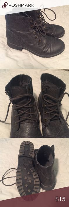 Gray Faux-Leather Combat Boots Forever 21 brand Dark gray combat boots. Excellent condition, I have only worn them twice. They're a size 8, however I normally wear an 8.5 to a 9 in boots and they fit comfortably. If you have any questions about fit or comfort leave a comment! Forever 21 Shoes Combat & Moto Boots