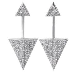 NEW 14K WHITE GOLD DIAMOND TRIANGLE EAR JACKET BACK & FRONT DANGLING EARRINGS