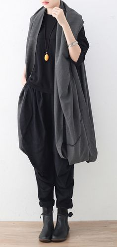 eb47e1ef42b015 black maxi coat oversize asymmetrical hem cardigans   Coats boutique  sleeveless coats Grey Vest