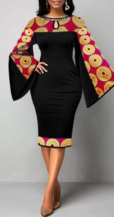 - - Women'S Black Flare Sleeve Tribal Print Sheath Cocktail Party Dress Keyhole Neckline Long Sleeve Midi Elegant Dress By Rosewe Flare Sleeve Tribal Source by rosewecom Best African Dresses, Latest African Fashion Dresses, African Print Fashion, African Attire, Women's Fashion Dresses, Sexy Dresses, African Prints, Ankara Fashion, Africa Fashion