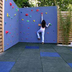 Kid's rock climbing wall for the backyard. So cool!