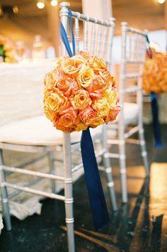 Four Seasons Hotel Austin Wedding by Brett Buchanan Photography Sunset Restaurant, Restaurant Wedding, Blue Orange Weddings, October Wedding Colors, Wedding Color Combinations, Wedding Flower Arrangements, Wedding Chairs, Bridal Flowers, Wedding Decorations