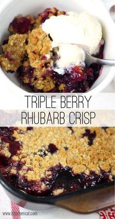 The post Triple Berry Rhubarb Crisp appeared first on Win Dessert. Rhubarb Desserts, Köstliche Desserts, Delicious Desserts, Yummy Food, Strawberry Rhubarb Crisp, Rhubarb Crumble, Rhubarb Rhubarb, Rhubarb Crisp Recipe, Recipes