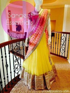 NAVRATRI SPECIAL..  SUPERB LEHNGA...  SUPERB FINISHING AND SHINING  COLOUR:  PINK+YELLOW  FABRIC: PURE SUPERNET LEHNGA:  YELLOW NET  DUPPATA:  PINK NET  BLOUSE: PINK BANGLORI Work: HEAVY EMBROIDRY RATING: 5 STAR  Season: Any Occasion: Bollywood Style,P