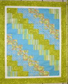 """Super Quick & Easy Baby Quilt. Fat Quarter friendly--Should work for """"Quilt as you go"""", sewing strips rows onto batting and solid piece of back fabric-cn"""