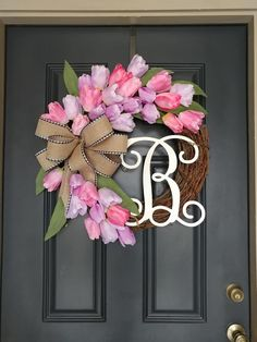 Spring Tulip Wreath Valentine Day Door Decoration for Spring Grapevine Wreath Housewarming Gift Monogram Easter Flower Wreath by CustomWreathShop Diy Spring Wreath, Summer Door Wreaths, Easter Wreaths, Spring Crafts, Christmas Wreaths, Wreath Crafts, Diy Wreath, Grapevine Wreath, Wreath Ideas