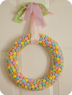 DIY conversation heart wreath.. adorable!