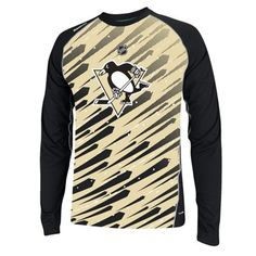 Mens Pittsburgh Penguins Reebok Gold 2014 Center Ice TNT PlayDry Long Sleeve Fashion T-Shirt
