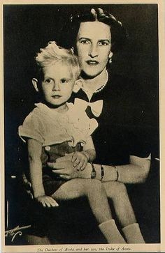 Princess Irene of Aosta, nee Princess of Greece, with her son Amedeo