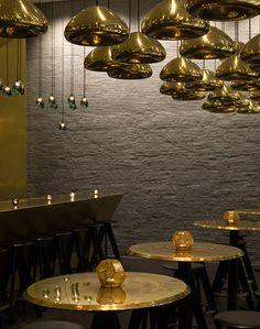 Restaurant design, Awesome Restaurant Lighting Interior Gold Color In Concrete Wall Restaurant: Decorative restaurant interior lighting