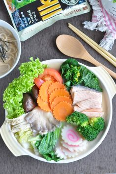 Salmon & Vegetables Nabe-Tsuyu Hotpot using Mizkan's Hotpot Soup Base