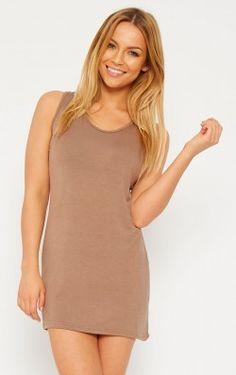 Basic Mocha Jersey Mini Dress