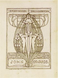 Ex libris John Edwards. Artist: Margaret MacDonald (Charles Rennie Mackintosh's wife), Glasgow School. By the tree of Knowledge dwells wisdom with her children which are pleasant thoughts
