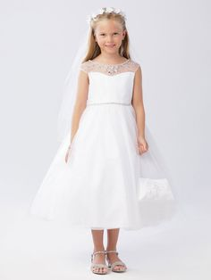 554b327aa9 First Communion Dress with Crystal Beaded Neckline
