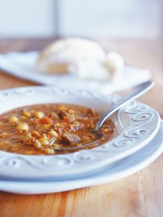 This lamb soup with chickpeas and lentils is, traditionally, the first meal to break the fast after Ramadan. It is an aromatic soup with the flavours of saffron, fresh coriander, parsley and lemon juice Banting Diet, Banting Recipes, Healthy Recipes, Healthy Food, Fresh Coriander, Parsley, Lentils, Chickpeas, Camping Meals
