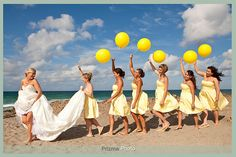 Balloons, Bridesmaids, a Beach and the Bride...all infused with yellow.