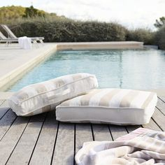 Summer Scatter Cushion Pad | View All Outdoor | The White Company UK Pallet Couch Cushions, Garden Cushions, Garden Beds, Pillows, Outside Cushions, Outdoor Cushions, Striped Cushions, Scatter Cushions, Porch Bench