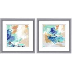 Blue Abstract II Wall Art, 16 inch x 16 inch, Set of 2