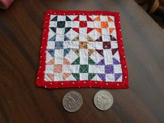 "Darla E. Kavanaugh - OOAK Shoo Fly quilt is hand pieced and quilted ~~ measuring just 4 - 1/2"" square. The Shoo fly blocks are each only 1-1/2"" square; sold on ebay for $13.95"