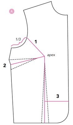 Marking a pattern for a bust adjustment
