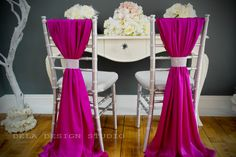 Magenta silky chair cover sash by DelaDesignStudio; great alternative to traditional chair covers