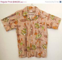 781c18135 CLEARANCE SALE Vintage 60's Hawaiian Shirt, Tikis, Brown, Tan, Green,  White, Men's Medium, Rockabilly, Tiki Oasis