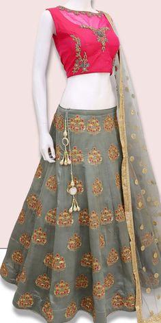 770f6f4ac27 Pretty Grey And Pink Silk Lehenga Choli.  lehenga  lehengas  weddingwear   bridalwear
