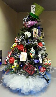 Alice in Wonderland inspired Christmas tree with tutu tree skirt 2013