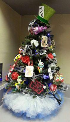 Alice in Wonderland inspired Christmas tree with tutu tree skirt 2013
