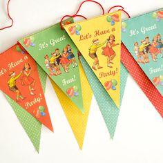 Anniversaire  enfants - guirlande fanions vintage vente accessoires et objets décoration enfants : My Little Bazar.
