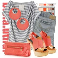 LOVE coral and gray -- heavenly!
