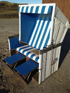 Best Sylter Strandkorb blau wei Klassiker Nr