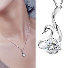 Unique Designer Sparkly Purple Austria Crystal Swan Necklace Pendant Jewellery