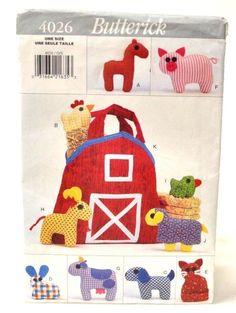 Butterick 4026 #sewingpattern  Pattern 10 #FARMYARD FRIENDS & BARN TOTE BAG VTG '95 UC #Butterick #sewing #sewingprojects
