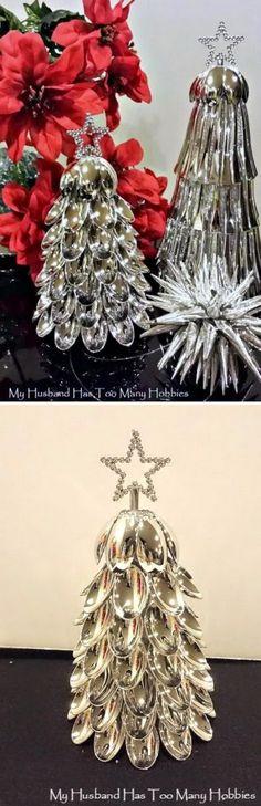 DIY Plastic Spoons Christmas Tree.