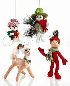 Annalee Collectible Ornaments, Christmas Collection. I love the vintage look!