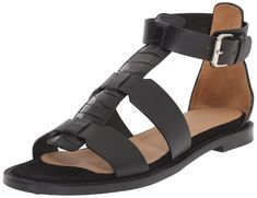 Aquatalia Womens Idina Vachetta Combo GLADIATOR Sandal Black 95 M US *** Details can be found by clicking on the image. (This is an affiliate link) Black Gladiator Sandals, Flat Sandals, Women's Flats, Amazing Women, Designer Shoes, Birkenstock, Heels, Leather, Stuff To Buy