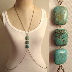 Turquoise Howlite Stone Body Chain Harness SAN381 by SultryAffair, $40.00