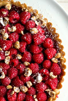 Recipe: Raspberry hazelnut tart. Photo: Andrew Scrivani for The New York Times