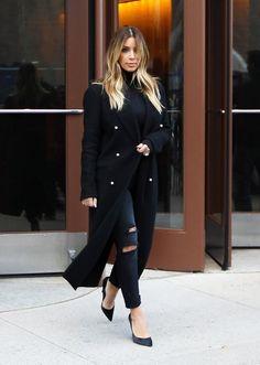 Kim Kardashian wearing Current/Elliott Ankle Skinny jeans in Overdye Black Destroyed CELINE Pre-Fall 2013 coat Wolford Colorado Turtleneck Bodysuit