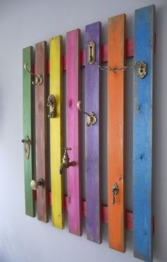 colorful coat hanger (from ikea slatten bed base)