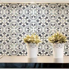 custom scaling available  Spanish tile stencil pattern - Majolica tile wallpaper stencil for walls