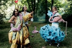 Alice in Wonderland shoot for Vogue with a craaazy looking John Galliano. Annie Liebovitz