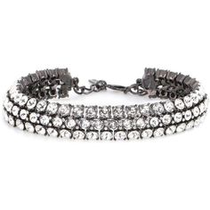Oscar de la Renta Crystal Embellished Choker (3 655 PLN) ❤ liked on Polyvore featuring jewelry, necklaces, bracelets, choker, accessories, white, white choker necklace, white choker, white necklace and white jewelry