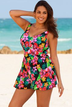 Beach Belle Montego Bay Plus Size V-Neck Swimdress