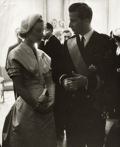 Grand Duchess Josephine Charlotte of Luxembourg and her brother Prince Albert of Belgium, 1950s.