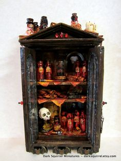 Vlad's Bloodbank cupboard ooak dollhouse miniature by DarkSquirrel, $190.00