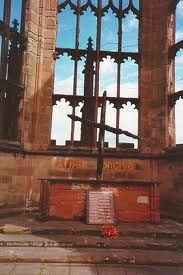 "The altar of Coventry Cathedral, England after HItler's WWII bombing. Inscribed ""Father Forgive"" and now called ""The Reconciliation Altar"". Saw this in person as a young girl and have never forgotten the lessons of this place."