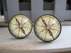 Mens Cuff Links  Vintage Brass Compass Design by Laurenloveetsy, $12.99